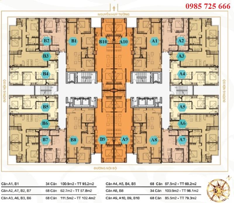 Mặt bằng căn hộ chung cư Mỹ Sơn Tower 62 Nguyễn Huy Tưởng