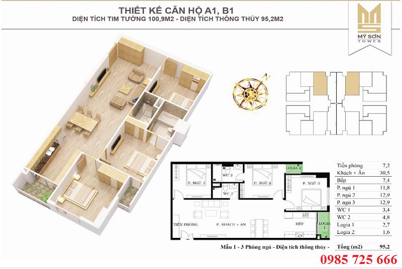 Thiết kế căn 100,9m2 Mỹ Sơn Tower 62 Nguyễn Huy Tưởng - Thanh Xuân