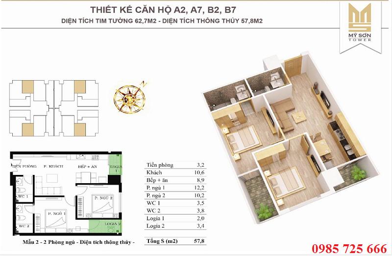 Thiết kế căn 62,7m2 Mỹ Sơn Tower 62 Nguyễn Huy Tưởng - Thanh Xuân