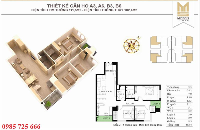 Thiết kế căn 111,5m2 Mỹ Sơn Tower 62 Nguyễn Huy Tưởng - Thanh Xuân