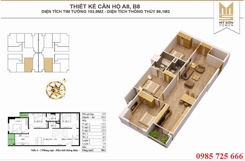 Thiết kế căn 103,9m2 Mỹ Sơn Tower