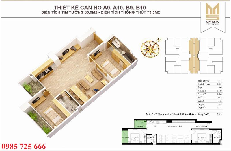 Thiết kế căn 85,5m2 Mỹ Sơn Tower 62 Nguyễn Huy Tưởng - Thanh Xuân