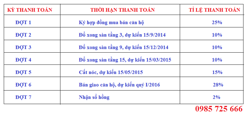 Tiến độ thanh toán Chung Cư Mỹ Sơn 62 Nguyễn Huy Tưởng