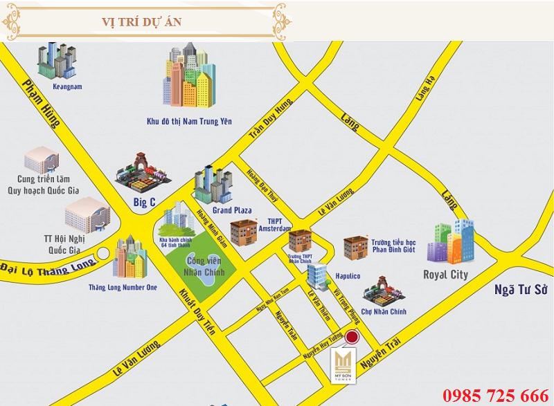 Vị trí dự án Mỹ Sơn Tower 62 Nguyễn Huy Tưởng - Thanh Xuân