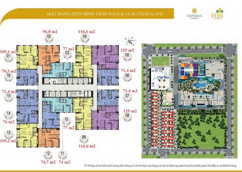 Mặt bằng tầng 9-11a-14-28 tòa A 29T Imperia Garden 203 Nguyễn Huy Tưởng - Thanh Xuân