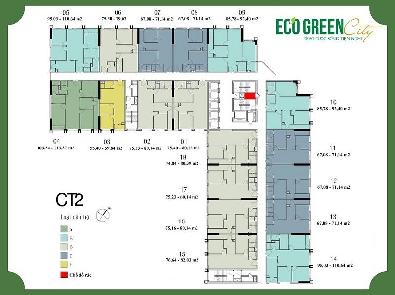 Mặt bằng CT2 Eco Green City Nguyễn Xiển