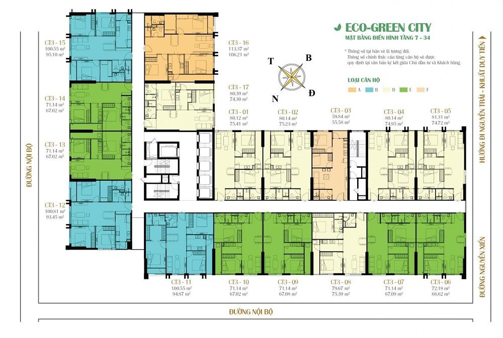 Mặt bằng tòa CT3 dự án Eco Green City Nguyễn Xiển