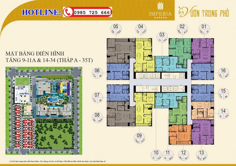 Mặt bằng tầng 9-11a-14-34 tòa B 35T Imperia Garden 203 Nguyễn Huy Tưởng - Thanh Xuân