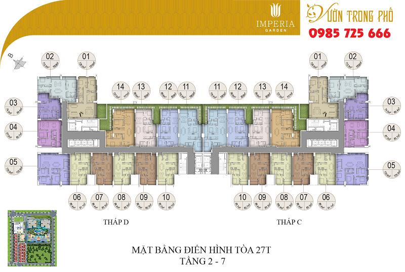 Mặt bằng tòa C-D tầng từ 2-7 dự án Imperia Garden 203 Nguyễn Huy Tưởng