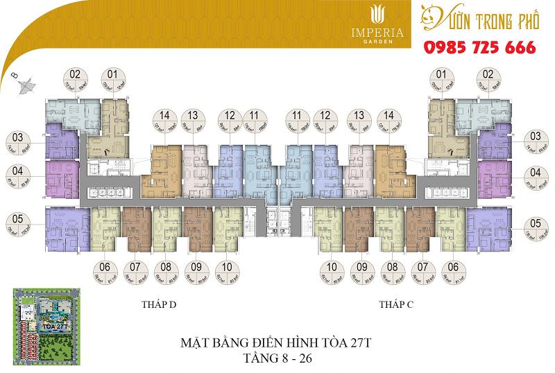 Mặt bằng tòa C-D tầng từ 8-26 dự án Imperia Garden 203 Nguyễn Huy Tưởng