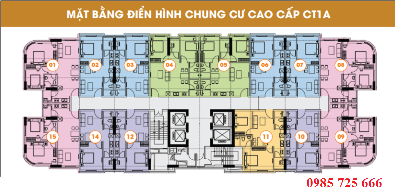 Mặt bằng tòa CT1A - Khu đô thị mới Nghĩa Đô - 106 Hoàng Quốc Việt - Cầu Giấy