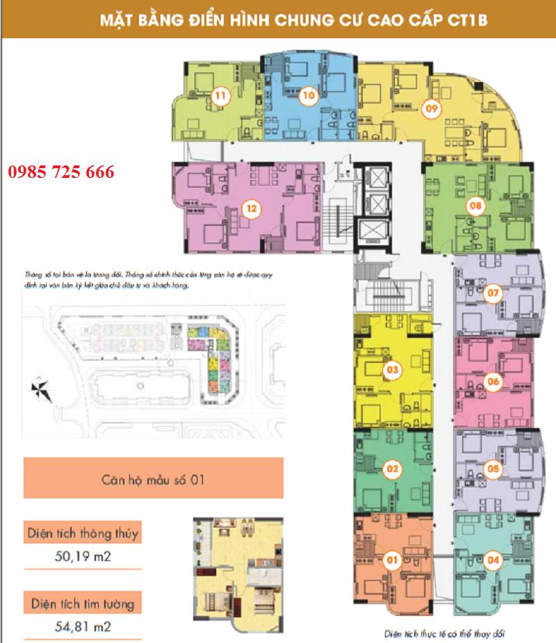 Mặt bằng tòa CT1B - Khu đô thị mới Nghĩa Đô
