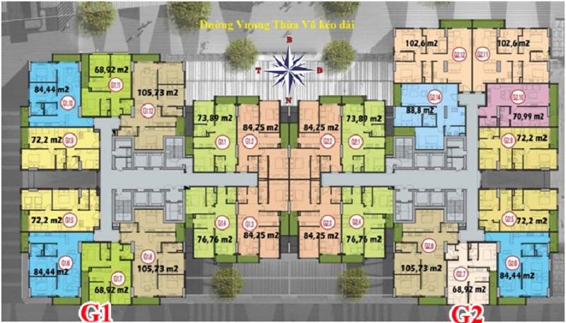 Mặt bằng tòa G1-G2 dự án Fivestar 02 Kim Giang