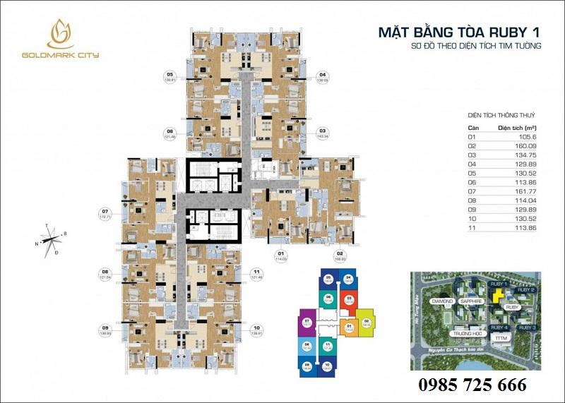 Mặt bằng tòa Ruby 1 Goldmark City - 136 Hồ Tùng Mậu - Từ Liêm