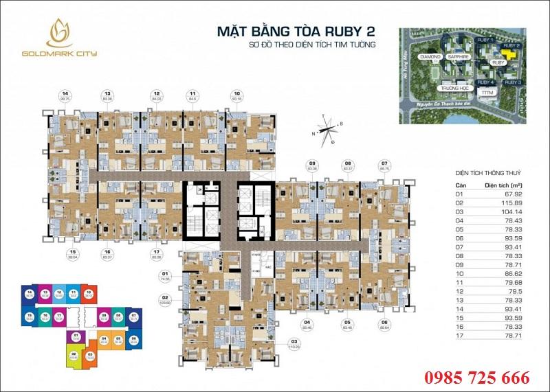 Mặt bằng tòa Ruby 2 Goldmark City - 136 Hồ Tùng Mậu - Từ Liêm
