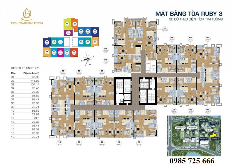 Mặt bằng tòa Ruby 3 Goldmark City - 136 Hồ Tùng Mậu - Từ Liêm