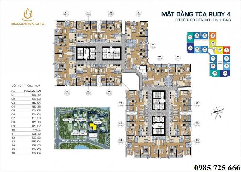 Mặt bằng tòa Ruby 4 Goldmark City - 136 Hồ Tùng Mậu - Từ Liêm