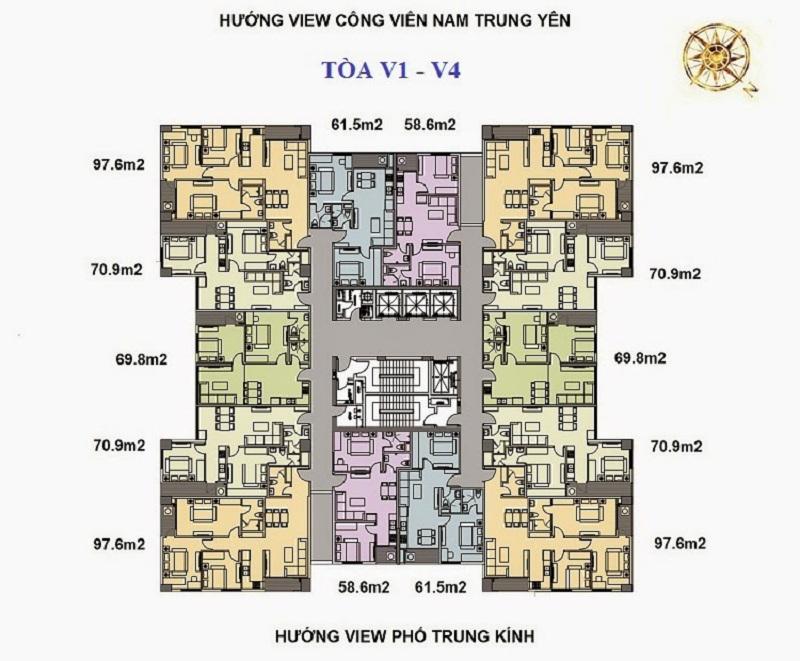 Mặt bằng tòa V1 - V4 dự án Home City 177 Trung Kính