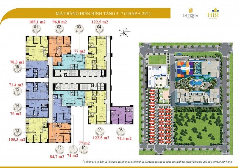 Mặt bằng tầng 3-7 tòa A 29T Imperia Garden 203 Nguyễn Huy Tưởng - Thanh Xuân