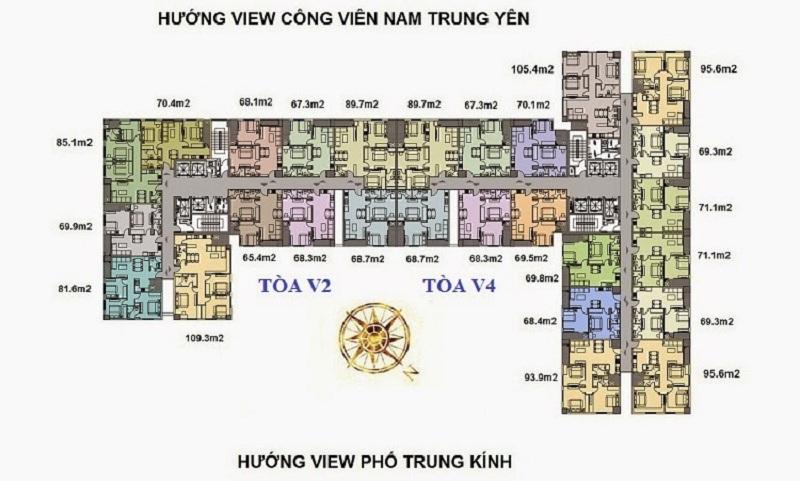 Mặt bằng tòa V2 - V3 dự án Home City 177 Trung Kính