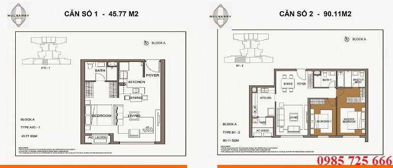 Thiết kế căn 1 - 2 tòa A Mulberry Lane