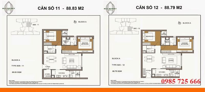 Thiết kế căn 11-12 tòa A Mulberry Lane Mỗ Lao
