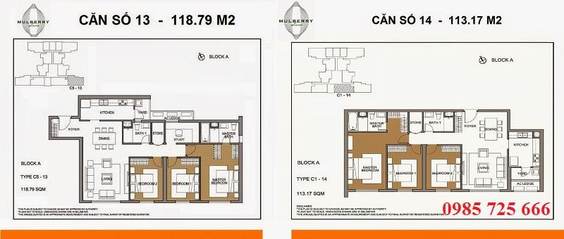 Thiết kế căn 13-14 tòa A Mulberry Lane Mỗ Lao