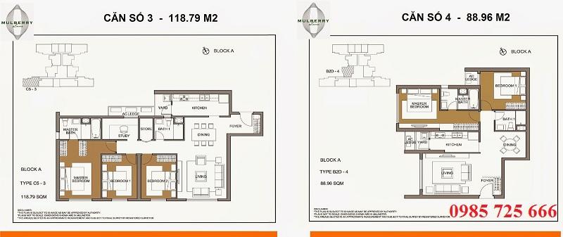 Thiết kế căn 3-4 tòa A Mulberry Lane