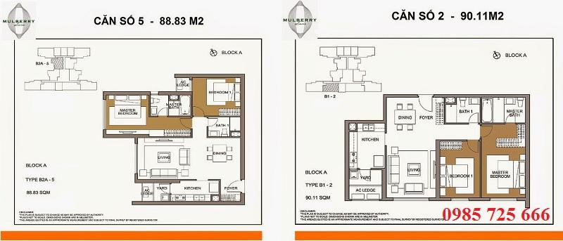Thiết kế căn 5 tòa A Mulberry Lane