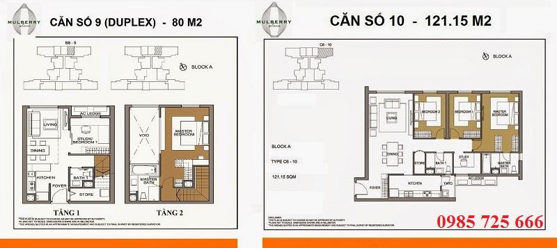 Thiết kế căn 9-10 tòa A Mulberry Lane Mỗ Lao
