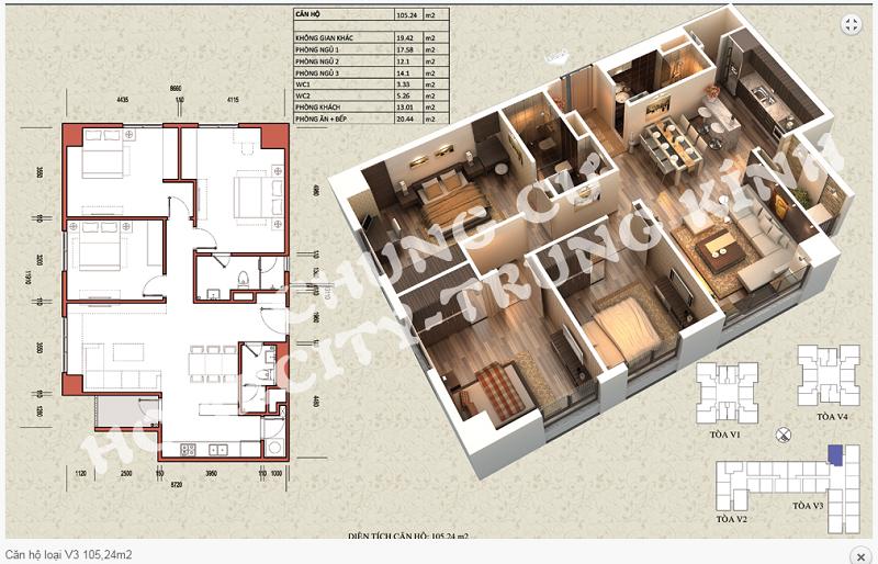 Thiết kế chi tiết căn hộ 105,24 m2 tòa V3 dự án Home City 177 Trung Kính