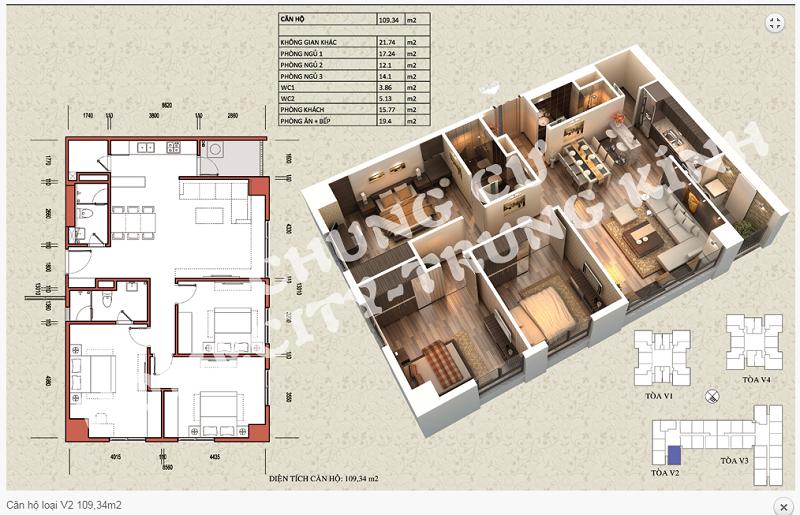 Thiết kế chi tiết căn hộ 109,34 m2 tòa V2 dự án Home City 177 Trung Kính