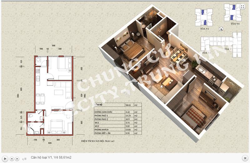Thiết kế chi tiết căn hộ 58,61m2 tòa V1 - V4 dự án Home City 177 Trung Kính
