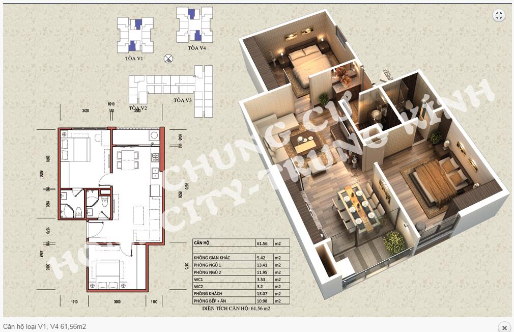 Thiết kế chi tiết căn hộ 61,56m2 tòa V1 - V4 dự án Home City 177 Trung Kính