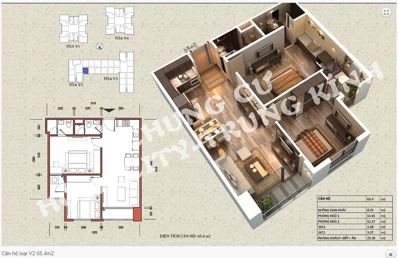 Thiết kế chi tiết căn hộ 65,4 m2 tòa V2 dự án Home City 177 Trung Kính