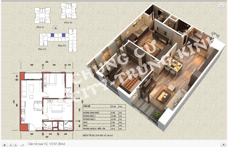 Thiết kế chi tiết căn hộ 67,36 m2 tòa V2 - V3 dự án Home City 177 Trung Kính