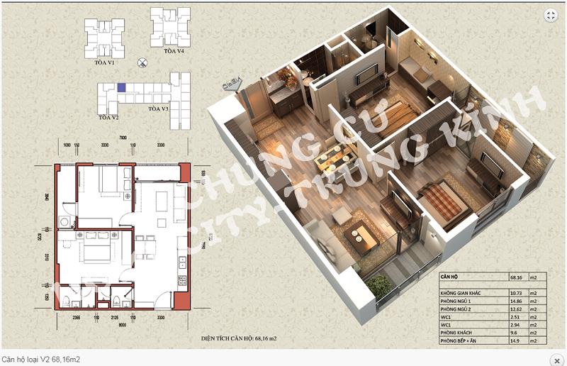 Thiết kế chi tiết căn hộ 68,16 m2 tòa V2 dự án Home City 177 Trung Kính
