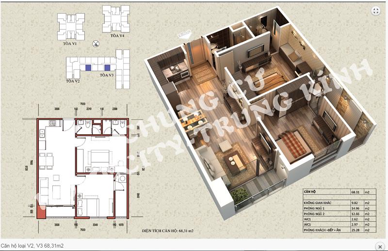 Thiết kế chi tiết căn hộ 68,31 m2 tòa V2 - V3 dự án Home City 177 Trung Kính