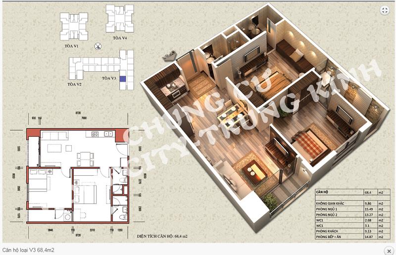 Thiết kế chi tiết căn hộ 68,4 m2 tòa V3 dự án Home City 177 Trung Kính