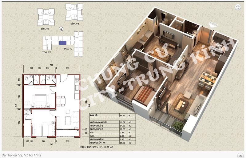 Thiết kế chi tiết căn hộ 68,77 m2 tòa V2 - V3 dự án Home City 177 Trung Kính