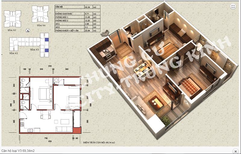 Thiết kế chi tiết căn hộ 69,34 m2 tòa V3 dự án Home City 177 Trung Kính