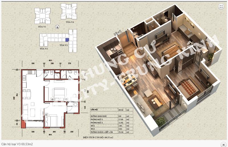 Thiết kế chi tiết căn hộ 69,53 m2 tòa V3 dự án Home City 177 Trung Kính