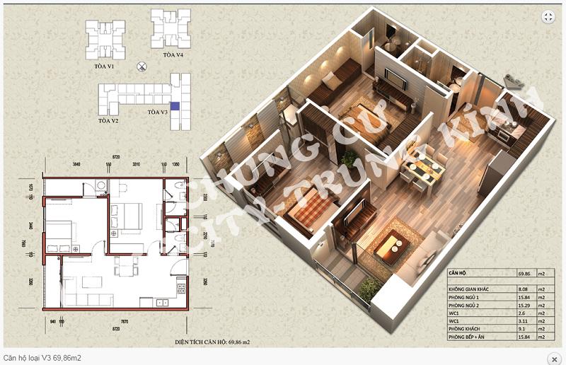 Thiết kế chi tiết căn hộ 69,86 m2 tòa V3 dự án Home City 177 Trung Kính