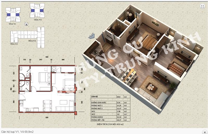 Thiết kế chi tiết căn hộ 69,8 m2 tòa V1 - V4 dự án Home City 177 Trung Kính