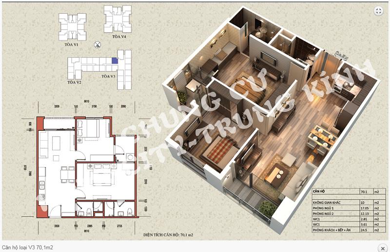 Thiết kế chi tiết căn hộ 70,1 m2 tòa V3 dự án Home City 177 Trung Kính