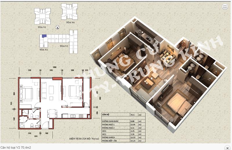 Thiết kế chi tiết căn hộ 70,4 m2 tòa V2 dự án Home City 177 Trung Kính