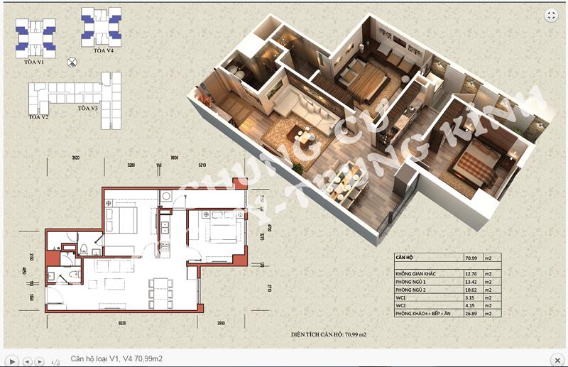 Thiết kế chi tiết căn hộ 70,99 m2 tòa V1 - V4 dự án Home City 177 Trung Kính
