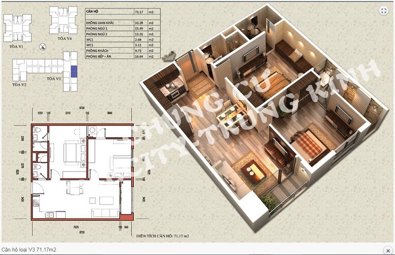 Thiết kế chi tiết căn hộ 71,17 m2 tòa V3 dự án Home City 177 Trung Kính
