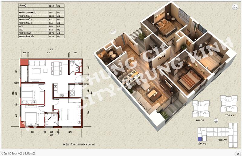 Thiết kế chi tiết căn hộ 81,68 m2 tòa V2 dự án Home City 177 Trung Kính