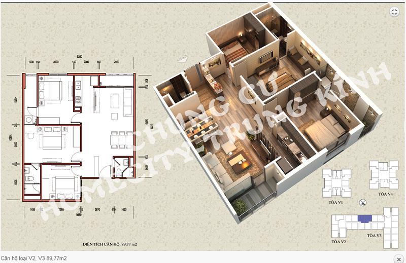 Thiết kế chi tiết căn hộ 89,77 m2 tòa V2 - V3 dự án Home City 177 Trung Kính